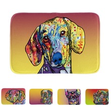 Funny Dogs Dachshund Series Door Mats Lovely Animals Bathroom Mats Soft Lightness Indoor Outdoor Floor Mats Short Plush Fabric