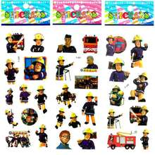 10pcs/Lot Safe Educational Cartoon Figure Fireman Sam Sticker Fireman Bubble Stickers Foam Puffy DIY Stickers For Kids Gift(China)