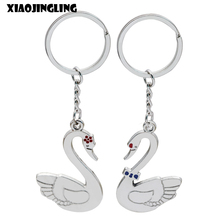 XIAOJINGLING 2PCS Couple Keychain For Lovers Gift Charm Creative Cute Swan Key Holder Key Ring Fashion Women Accessories Keyring(China)