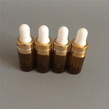 5Pcs/Lot Mini Cute 3ML Glass Essential Oil Bottle With Black Aluminum Drop Cap In Refillable Protable Parfum Packaging