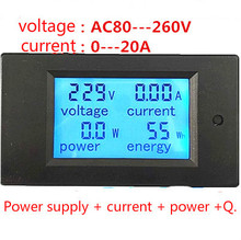 digital wattmeter 20A AC Multifunction Digital LED Power Panel Meter Monitor Power Energy Voltmeter Ammeter(China)