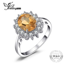 JewelryPalace Kate Princess Diana 1.8ct Natural Citrine Engagement Halo Ring 925 Sterling Silver Ring for Women Jewelry On Sale