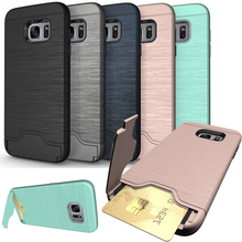 for Samsung Galaxy A3 A5 A7 2017 Coque Stand Luxury Hybrid Credit Card pocket Hidden pouch Samsung Galaxy S7 edge S8 Plus case(China)