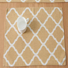 Custom Made Table Mat Nordic style Insulation Mat Geometry Pattern Cotton Linen Placemat/ Bowls Mat Dining Table Place Mat
