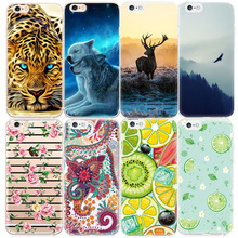 2017 New Pattern Phone Cases For iPhone 7 6 6S Plus 5S SE 5 5C 4 4S Fruits Animals Flowers Printed Cover Capa TPU Silicon Fundas(China)