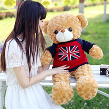 stuffed toy, new arrival large 80cm light brown teddy bear plush toy flag sweater bear doll throw pillow Christmas gift b1277