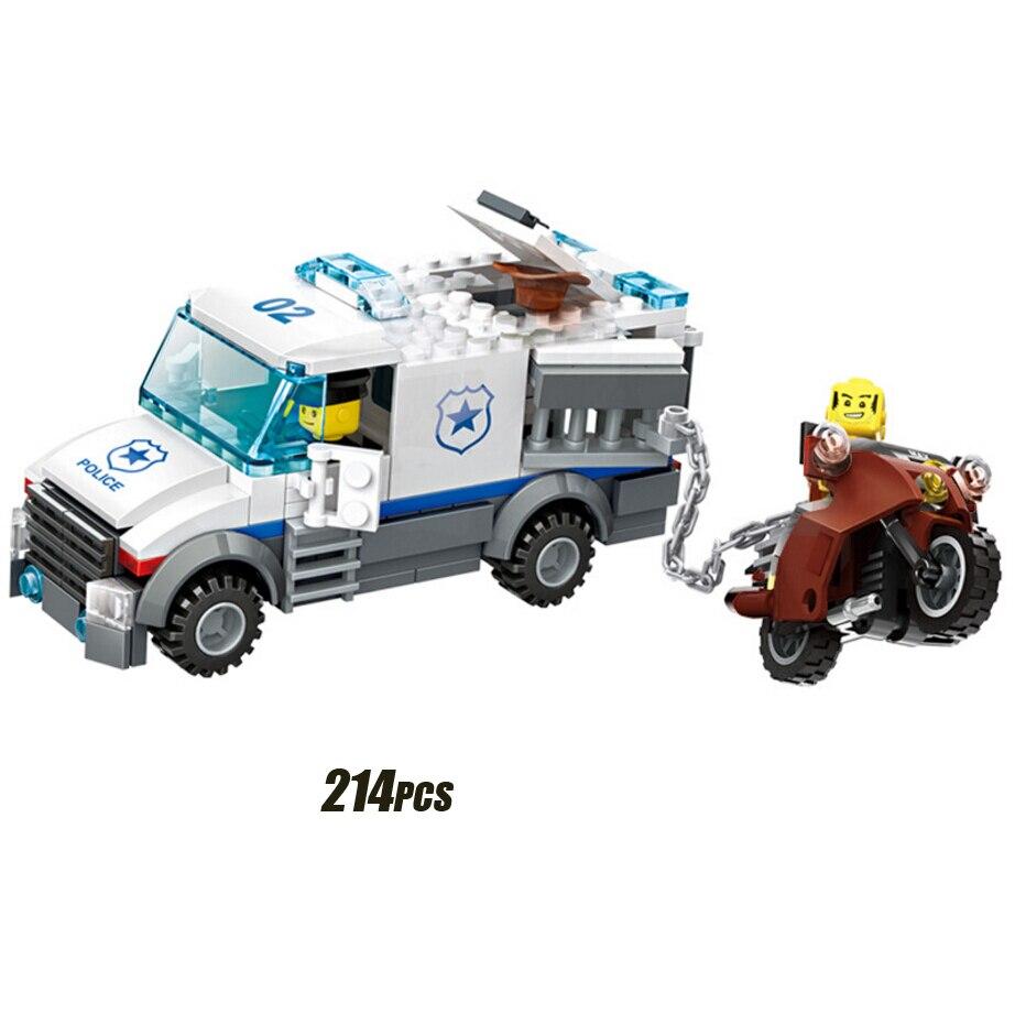 Hot City Police Station Building Block Policeman Prisoner Dog Lego 60141 Figures Helicopter Motorcycle Pickup Bricks Toys