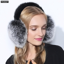 Cache Oreille Rushed 2017 Fashion Trend Winter Full Leather Natural Fox Fur Ear Muffs Thermal Girl Women's Earmuffs Package(China)