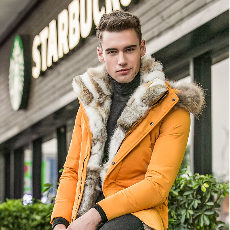2017 Down Men Winter Jackets Mens Duck Down Coat Cashmere Wool Fleece Parka Man Jacket Coats Rabbit Fur Collar Parkas Overcoat