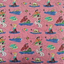 140X100cm 50s Vintage Pink Pirate Mermaid Print Cotton Poplin Fabric for Dress Sewing Patchwork DIY-AF072(China)