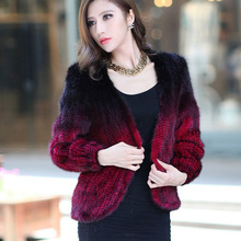 100% Real Genuine Knit Mink Fur Jacket Outwear Women Black Winter V Collar Free Ship Wholesale China Fur Factory Cardigent Coat(China)