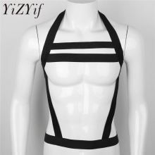 Buy YiZYiF Elastic Nylon Halter Body Chest Harness Bondage Costumes Wetlook Sexy Male Harness BDSM Bondage Top Mens Lingerie Fetish