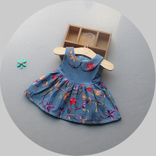 2017 New Baby Denim Dress Summer Clothing Infant Clothes Jeans Dresses Embroidered Flower Min Dress for Babies Casual Dress