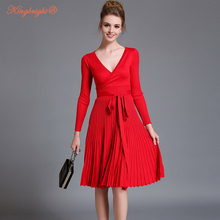 King Bright European Design Elegant Summer Dress V-neck Women Casual Long Sleeve Knitted Dress Brand Fashion Pleated Ladies Dres