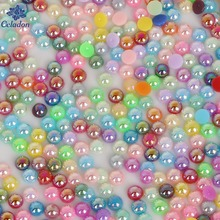 8 Size 50-1000pcs AB Colors Imitation Pearls Craft Half Round Flatback Beads DIY Decoration For Sewing Clothes(China)