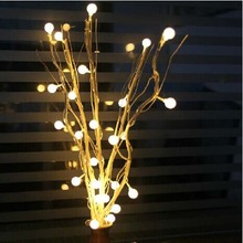 YIMIA 25 Cherry Ball Tree Lights Holiday LED String Fairy Christmas Lights indoor Thailand Sepak Takraw Home Living Room Decora
