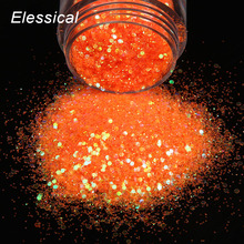 ELESSICAL 1PC(16g) UV Nail Polish DIY Accessories Nail Glitters Shiny Orange Holographic Nail Paillette 3D Nail Art Tools WY834