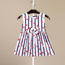 Fashion Girl Dress Blue Strip With Sweet Heart Print Summer Beach Kids Clothing Cotton Bow  Princess Dresses