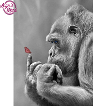 "Full Square Diamond 5D DIY Diamond Painting ""Gorilla & Butterfly "" Embroidery Cross Stitch Rhinestone Mosaic Home Decor(China)"