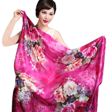Spring Autumn Women Square Silk Scarf Shawl Fashion 100% Mulberry Silk Square Scarves Ultra Large Pink Silk Scarf Cape 110*110cm(China)