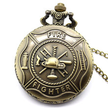Retro Bronze Fire Fighter Control Quartz Vintage Pocket Watch Necklace Pendant Men Jewelry Best Gift To Man