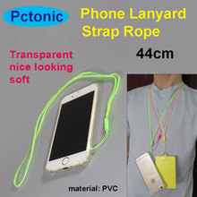 PCTONIC Mobile phone Strap translucency transparent PVC long neck lanyard rope for camera smart phone case 44cm keychain(China)