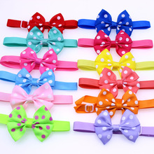 New 50pcs Dog pet Neck Accessories Dot Designs Pet Cat Bows Bowties Puppy Pet Ribbon Bow tie Cute Pet Grooming Products(China)