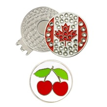 Crystal Canada Flag Golf Ball Marker with Magnetic Hat Clip or Cap Clip With Blister Packing(China)