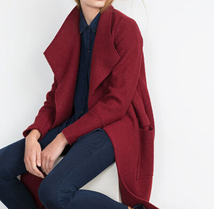 2015 Autumn New ZA Genuine Women Fashion Long Burgundy Wool Loose Wrap Oversize Coat Cardigan lapel Collar Pockets(China)