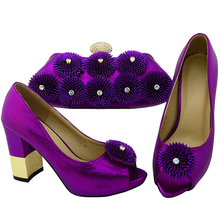 Purple Color African Shoe and Bag Set Italian Shoes and Bags Set Envio Gratis Matching Italian Shoe and Bag Set Nigerian Shoes(China)