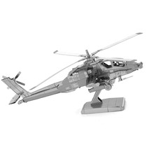 AH-64 Helicopters Jigsaw Puzzle DIY Assemble Scale Model 3D Metal Puzzle IQ Educational Toys Stainless Steel Kids Toys Gift