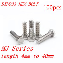 100pcs DIN933 M3 3mm 304 stainless steel hex bolt M3*4/5/6/8/10/12/1/16/18/20/25/30/35/40mm(China)