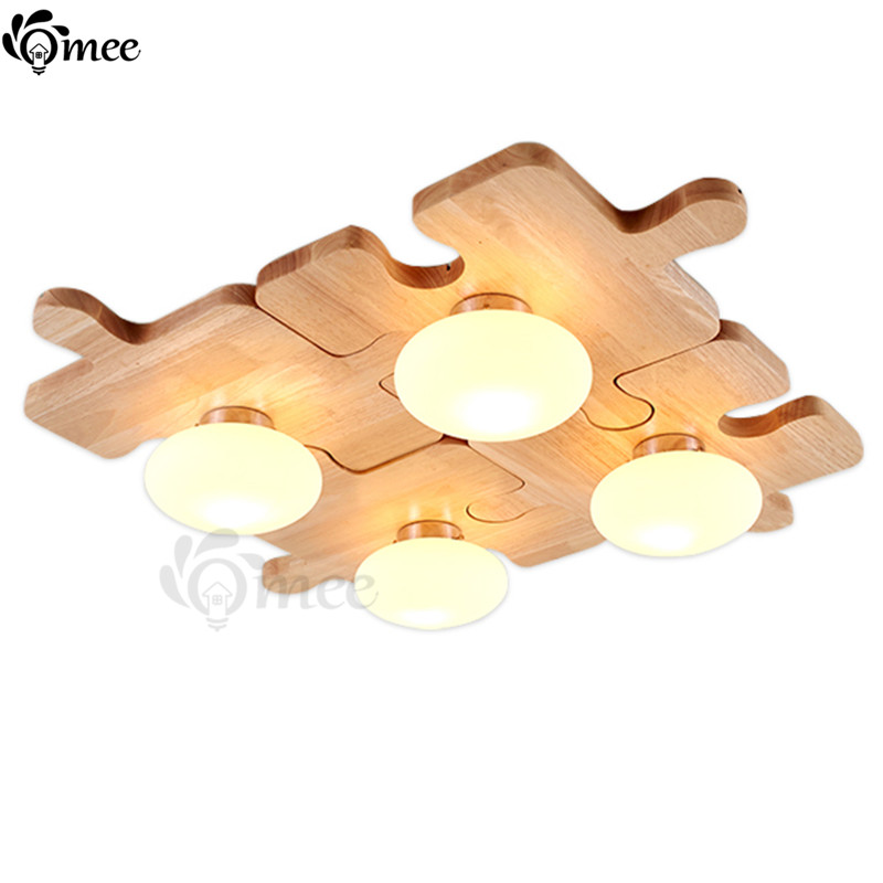 Creative DIY Wood Ceiling Lights Lamp , Free Combination Joining Together Ceiling Lighting Bedroom Fixture Install E27 LED Bulb<br><br>Aliexpress