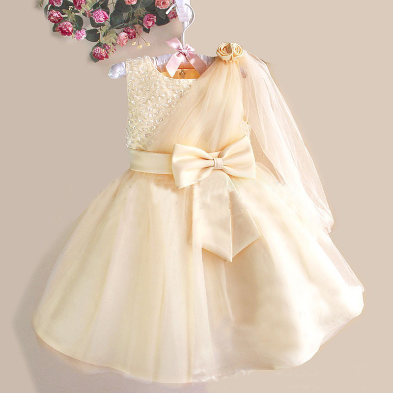 New 2017 Baby Girl Dress Bow Sequin Baby Girl Clothes Wedding and Party Princess Tutu Childrens Dresses Kids Beautiful Dress<br><br>Aliexpress