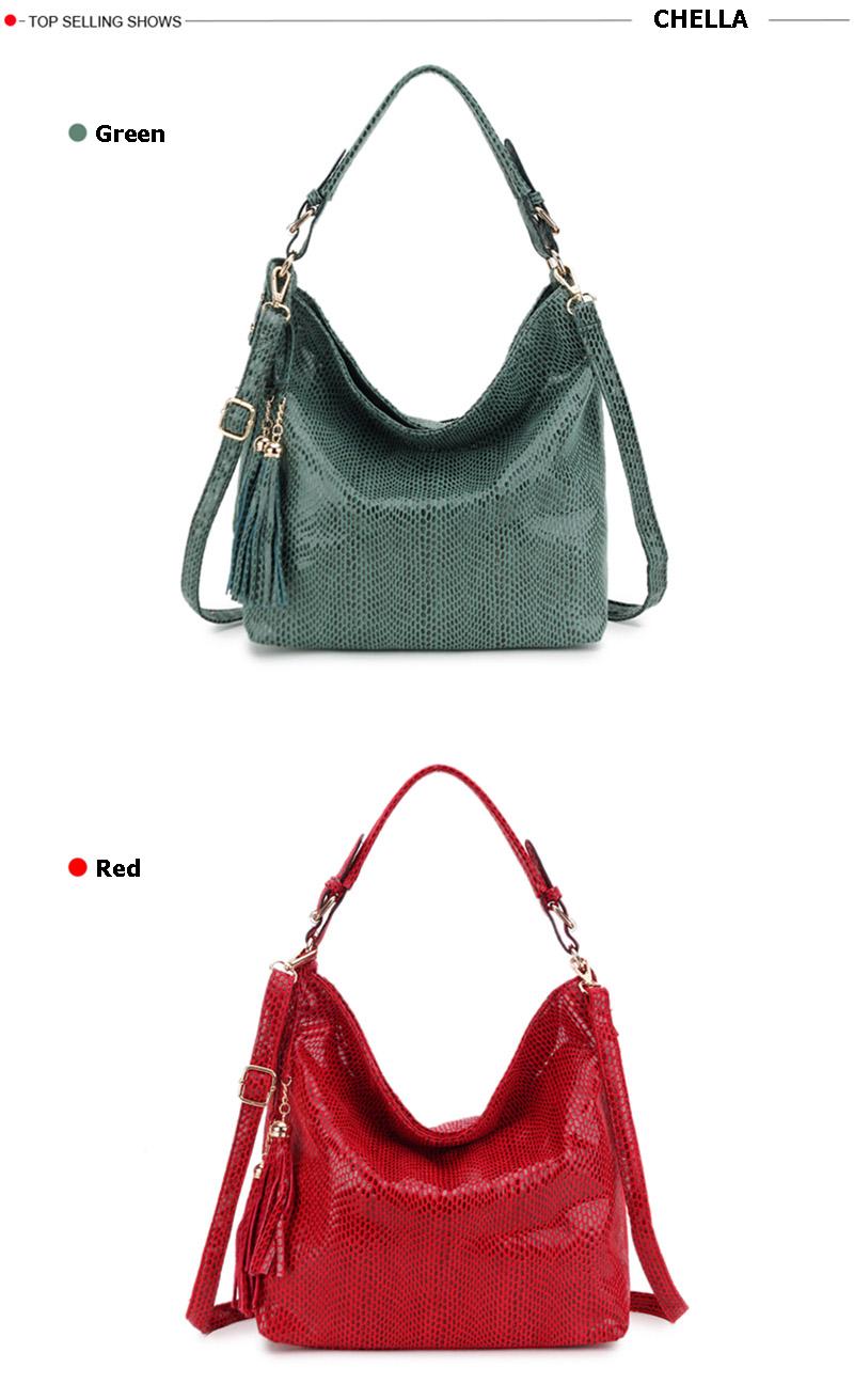 Women Snake Leather Shoulder Bag Female Serpentine Pattern Hobos Bags Tassel Big Handbag Luxury Designer Ladies Tote SS0309 (8)