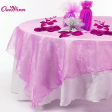 20Pcs Organza Tablecloth 72 inch Square Table Cover Overlay for Wedding Party Decoration Home Textiles 12 Colors(China)