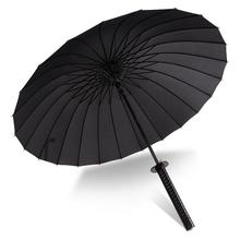 Japanese Samurai Sword Long-handle Ninja Umbrella Windproof Pongee Metal Shaft Black Sun And Rain Umbrella 24Ribs