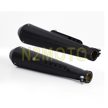 "1 Pair Motorcycles 18"" Exhaust Muffler Pipe 1 5/8"" &1 1/2""& 1 7/16"" for Bobber Chopper Cafe Racer Black DB Killer Silencer"