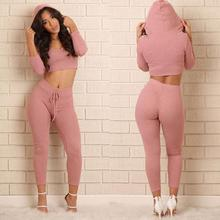 fashion cotton two pieces set women club wear clothing  sexy crop tops and pencil pants long sleeve two pieces outfits