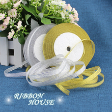 (25 yards/roll) 3/8'' (10mm) Gold and Silver ribbon Christmas packaging ribbon high-grade quality squares ribbons wholesale