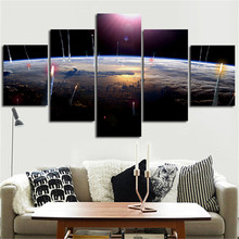 2016 Unframed Wall Painting Home Decor The Surface Of The Earth Planet Printed Art Pictures 5Planes Canvas Paint For Living Room(China)