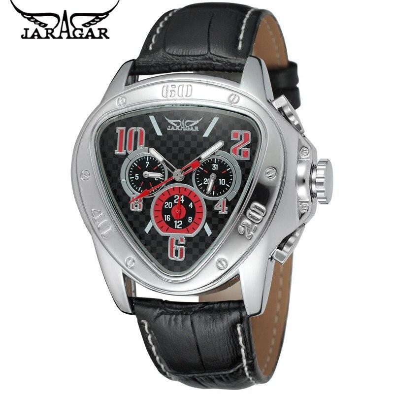 2017 JARAGAR Luxury Erkek Kol Saati Triangle Day/Week/24Hours Auto Mechanical Watches Wristwatch Free Ship<br><br>Aliexpress