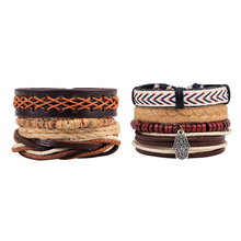 2017 FUNIQUE 2pcs Punk Rope Hemp Wood Beads Multilayer Bracelets Women Men Leather Braided Bracelet For Male Wristband Jewelry
