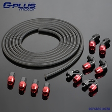 An10 Stainless Steel/Nylon Braided Oil/Fuel  Hose + Fitting Hose End Adaptor Kit