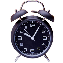"4"" Twin Bell Alarm Clock With Stereoscopic Dial, Backlight, Battery Operated Loud Alarm Clock 460656"