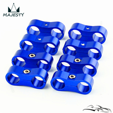 8pcs AN -6 AN6 13.4MM Braided Hose Separator Clamp Fitting Adapter Bracket blue(China)