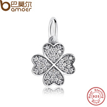 Happiness Four-Leaf Clover Pendant Charms Fit Original Bracelet & necklace 925 Sterling Silver Symbol Of Lucky In Love PAS136
