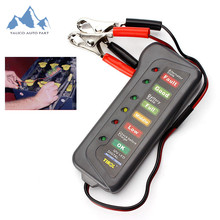 YALICO 12V Car Motorcycle digital Battery Alternator Tester with 6 LED Lights Display Car Vehicle Battery Testing Diagnostic