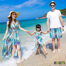 Summer Family Set Clothing 2015 Couple Clothes Sport Suit Men Boy Clothing Set, Women Backless Long Dress Boho Girls Beach Dress