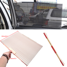 POSSBAY Retractable Car Sun-shading Shades Beige Side Window Curtain Mesh Sun Visors For Car Interior Product Window Film(China)